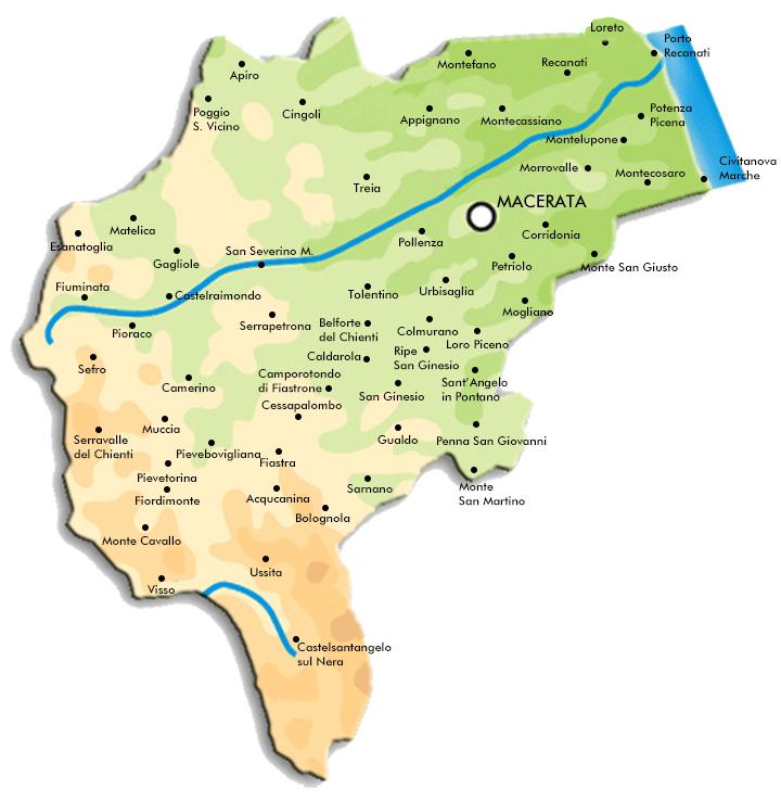 Cartina del territorio amministrato